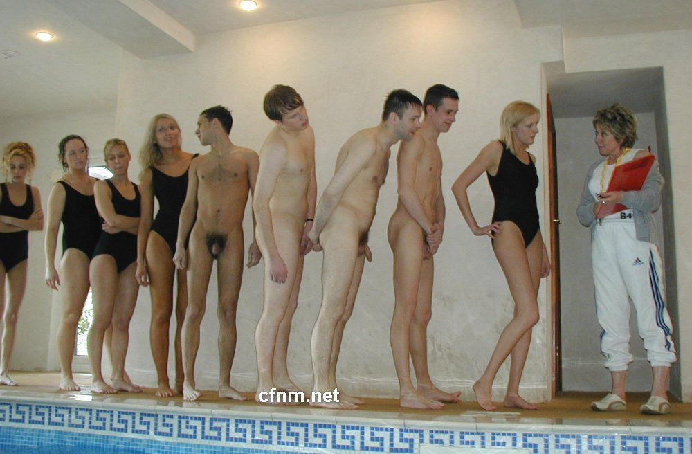 Girls and boys swimming naked