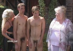 Boys stripped naked in public by Auntie's friends