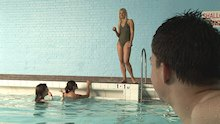 Naive schoolboy naked at swimming pool
