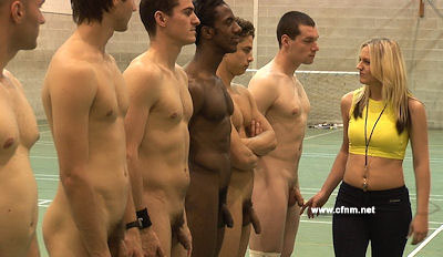 New female trainer licks naked jocks into shape