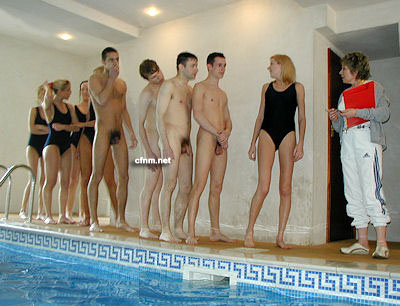 Schoolboys have to swim totally naked with the school girls in their smart swimsuits.