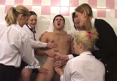 Arrogant schooboy stripped and abused by the girls after trapping him in the girls' toilet