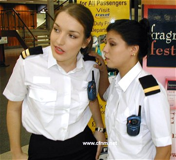 Suspicious female customs officers