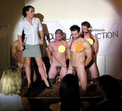 School slave auction. Lady teacher sells naked schoolboys to mums