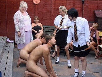 Walkies! Boys stripped and treated like dogs by schoolgirls and their mums