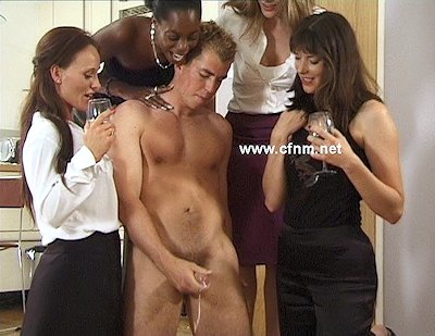 Billy loses at cards and girls make him strip and wank